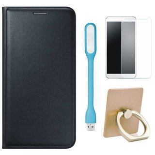 Oppo F3 Leather Flip Cover with with Ring Stand Holder, Tempered Glas and USB LED Light