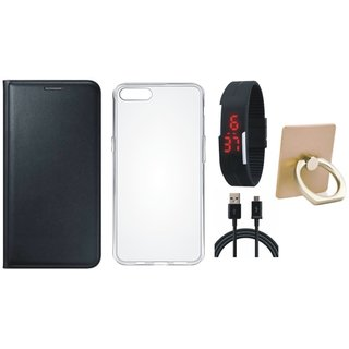 Vivo Y53 Leather Cover with Ring Stand Holder, Silicon Back Cover, Digital Watch and USB Cable
