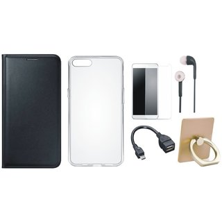 Oppo F3 Leather Flip Cover with with Ring Stand Holder, Silicon Back Cover, Tempered Glass, Earphones and OTG Cable