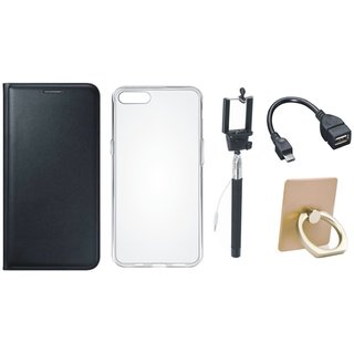 Oppo F3 Leather Flip Cover with with Ring Stand Holder, Silicon Back Cover, Selfie Stick and OTG Cable