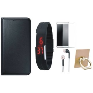 Redmi 4A Leather Flip Cover with with Ring Stand Holder, Free Digital LED Watch, Tempered Glass and Earphones