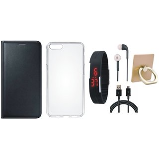 Oppo F3 Leather Flip Cover with with Ring Stand Holder, Silicon Back Cover, Digital Watch, Earphones and USB Cable