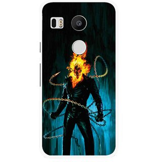 Snooky Printed Ghost Rider Mobile Back Cover For Lg Google Nexus 5X - Blue
