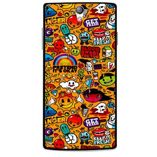 Snooky Printed Freaky Print Mobile Back Cover For Oppo Find 5 Mini - Yellow
