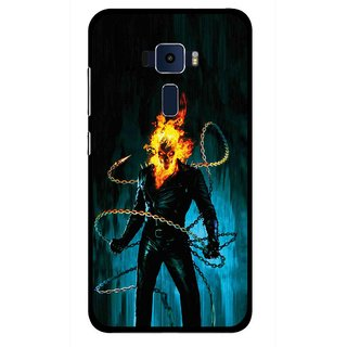 Snooky Printed Ghost Rider Mobile Back Cover For Asus Zenfone 3 ZE520KL - Blue