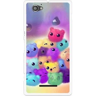 Snooky Printed Cutipies Mobile Back Cover For Sony Xperia M - Multicolour