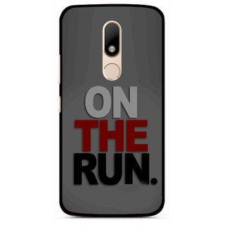 Snooky Printed On The Run Mobile Back Cover For Motorola Moto M - Grey