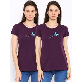 Port Ladies Purple Round-Neck T-Shirts (pack of 2)
