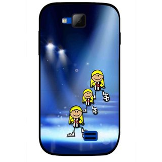 Snooky Printed Girls On Top Mobile Back Cover For Micromax Canvas Fun A63 - Blue