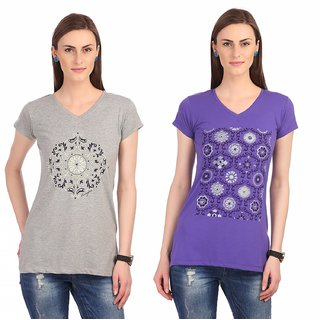 Port Ladies Grey And Purple V-neck T-Shirt (pack of 2)