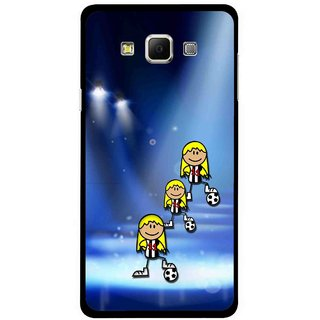 Snooky Printed Girls On Top Mobile Back Cover For Samsung Galaxy E5 - Blue