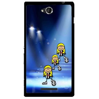 Snooky Printed Girls On Top Mobile Back Cover For Sony Xperia C - Blue