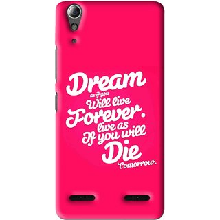 Snooky Printed Live the Life Mobile Back Cover For Lenovo A6000 - Pink