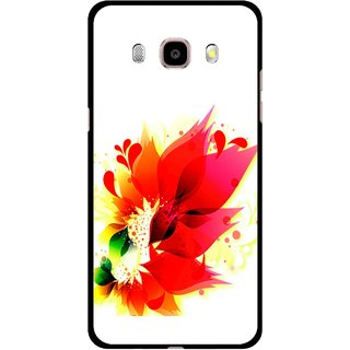 Snooky Printed Flowery Red Mobile Back Cover For Samsung Galaxy J7 (2016) - Multicolour