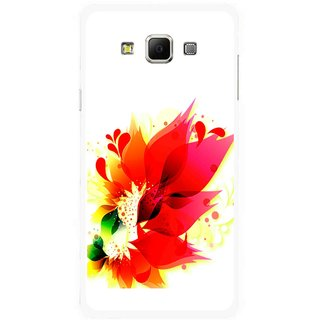 Snooky Printed Flowery Red Mobile Back Cover For Samsung Galaxy E7 - Multicolour