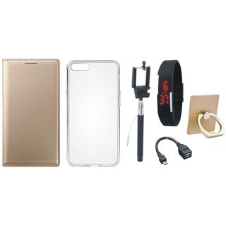 Oppo F3 Premium Leather Cover with Ring Stand Holder, Silicon Back Cover, Selfie Stick, Digtal Watch and OTG Cable