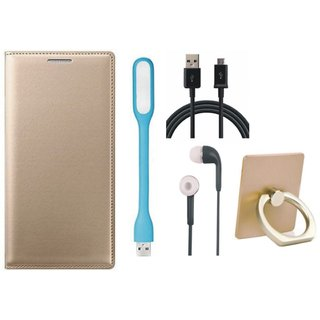 Redmi 4A Leather Flip Cover with with Ring Stand Holder, Earphones, USB LED Light and USB Cable