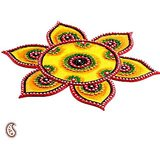 Floral  Floor Art Crafted In Wood, Clay And Kundans { Rangoli }