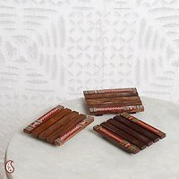 Wooden Coasters In Set Of 3 With Warli Paint