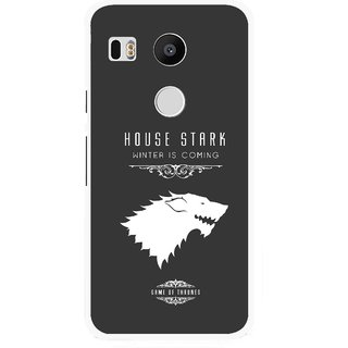 Snooky Printed House Stark Mobile Back Cover For Lg Google Nexus 5X - Grey