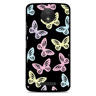 Snooky Printed Butterfly Mobile Back Cover For Motorola Moto C Plus - Multicolour