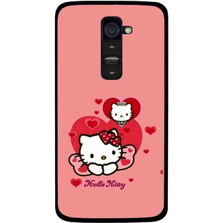 Snooky Printed Pinky Kitty Mobile Back Cover For Lg G2 - Multi