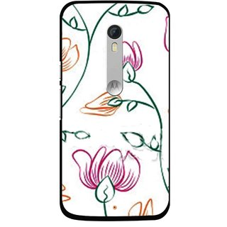 Snooky Printed Flower Sketch Mobile Back Cover For Motorola Moto X Style - White