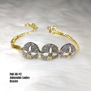 Rhodium Plated American Diamond Bracelet With 1 Year Guaranteed Plating With Adjustable Chain