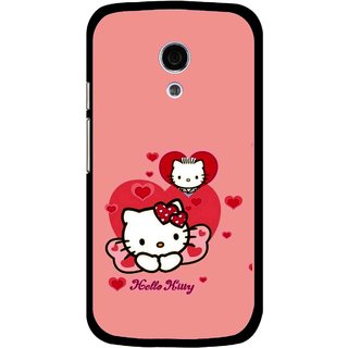 Snooky Printed Pinky Kitty Mobile Back Cover For Moto G2 - Multi