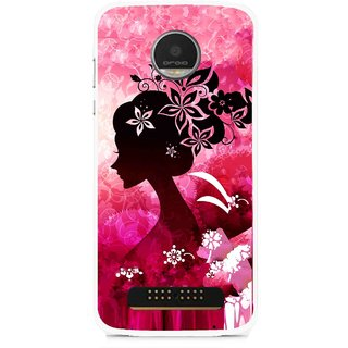 Snooky Printed Pink Lady Mobile Back Cover For Moto Z - Multi