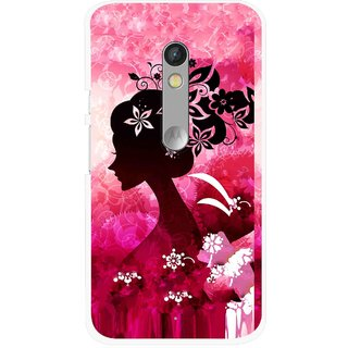 Snooky Printed Pink Lady Mobile Back Cover For Motorola Moto X Play - Multi