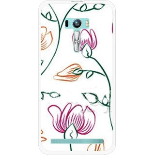 Snooky Printed Flower Sketch Mobile Back Cover For Asus Zenfone Selfie - White