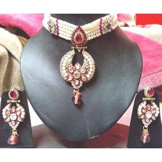 Online chokar pearl set with big pendant prices shopclues india chokar pearl set with big pendant aloadofball Images