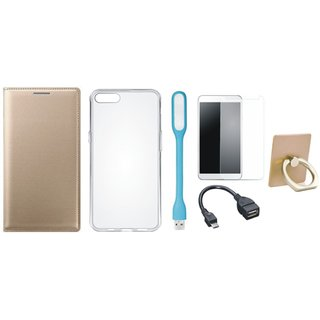 Vivo Y53 Leather Cover with Ring Stand Holder, Silicon Back Cover, Tempered Glass, USB LED Light and OTG Cable