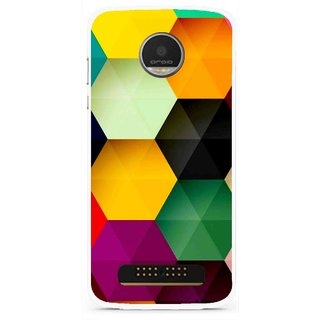 Snooky Printed Hexagon Mobile Back Cover For Moto Z Play - Multi