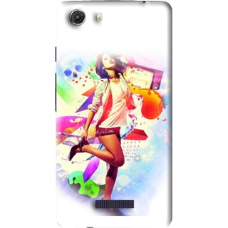 Snooky Printed Shopping Girl Mobile Back Cover For Micromax Canvas Unite 3 - Multi