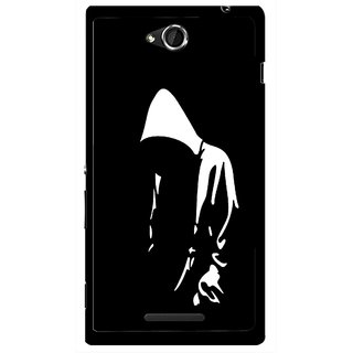 Snooky Printed Thinking Man Mobile Back Cover For Sony Xperia C - Black