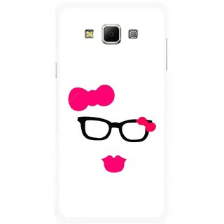 Snooky Printed Pinky Girl Mobile Back Cover For Samsung Galaxy E7 - Multicolour