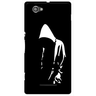 Snooky Printed Thinking Man Mobile Back Cover For Sony Xperia M - Black