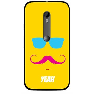 Snooky Printed Yeah Mobile Back Cover For Moto G3 - Yellow
