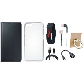 Lenovo K8 Plus Premium Leather Cover with Ring Stand Holder, Silicon Back Cover, Digital Watch, Earphones, OTG Cable and USB Cable