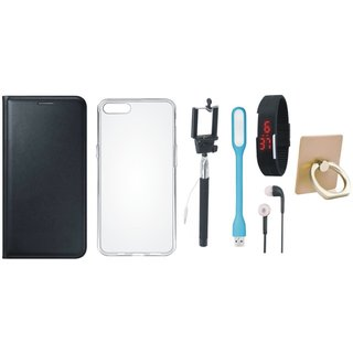 Vivo Y55 Leather Cover with Ring Stand Holder, Silicon Back Cover, Selfie Stick, Digtal Watch, Earphones and USB LED Light
