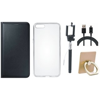 Vivo Y55 Leather Cover with Ring Stand Holder, Silicon Back Cover, Selfie Stick and USB Cable