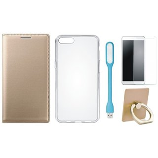 Vivo Y53 Cover with Ring Stand Holder, Silicon Back Cover, Tempered Glas and USB LED Light