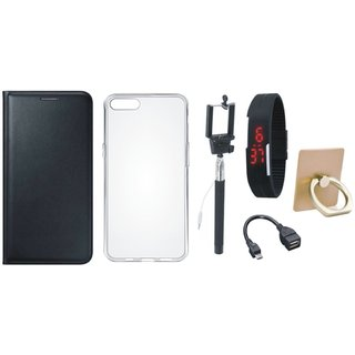 Lenovo K8 Plus Premium Leather Cover with Ring Stand Holder, Silicon Back Cover, Selfie Stick, Digtal Watch and OTG Cable