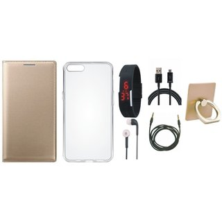 Vivo Y53 Premium Leather Cover with Ring Stand Holder, Silicon Back Cover, Digital Watch, Earphones, USB Cable and AUX Cable