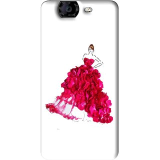 Snooky Printed Rose Girl Mobile Back Cover For Micromax Canvas A350 - Multi