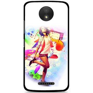 Snooky Printed Shopping Girl Mobile Back Cover For Motorola Moto C Plus - Multicolour