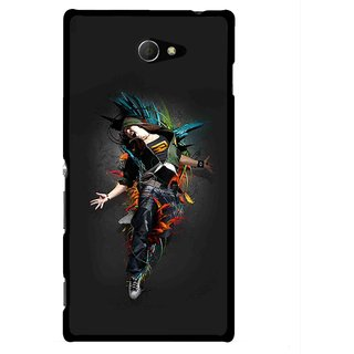 Snooky Printed Music Mania Mobile Back Cover For Sony Xperia M2 - Multicolour