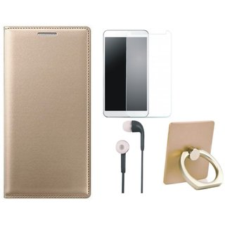 Vivo Y53 Premium Leather Cover with Ring Stand Holder, Tempered Glass and Earphones